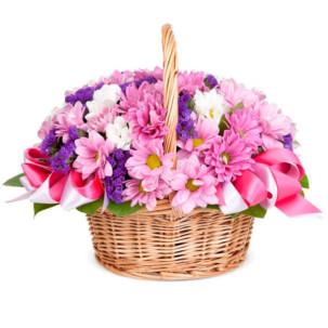"Корзина с цветами ""Цветочная мозаика"""